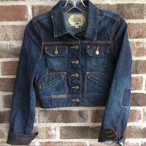 Old Navy Denim and Leather Cropped Jacket XS